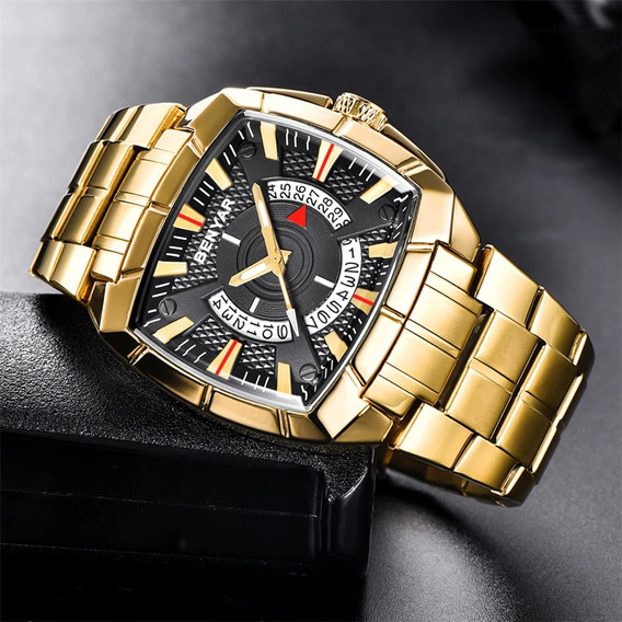 Relógio Masculino Quadrado Dourado Benyar By-5130m