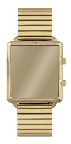 Relógio Feminino Espelho Dourado Quadrado Eujhs31bag/4d