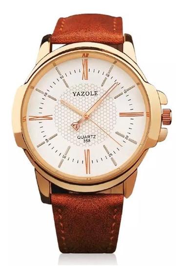 Reloj Hombre Acero Yazole Cuero Deportivo Casual Elegante