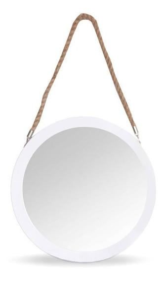 Espejo Redondo Circular Para Colgar Soga 30cm Marco Madera