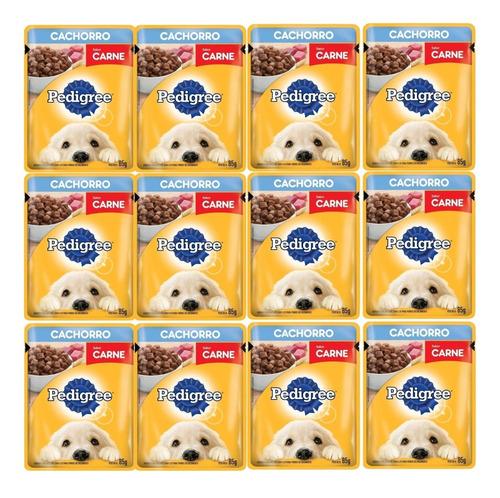 Imagen 1 de 3 de Pouch Pedigree Cachorro Carne 85 Grs X 12 Unidades