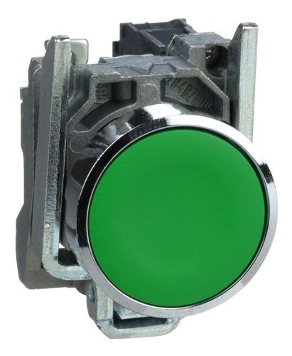 Pulsador Rasante, Metálico, 1na, Verde