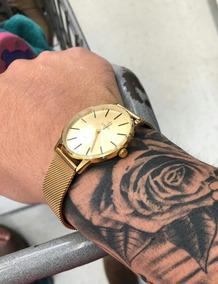 Relógio Masculino Original Aço Inox Slim Ultra Fino + Brinde