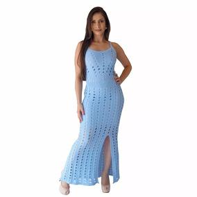 Vestido Longo Feminino Tricô Tricot Ensaio Gestante Fenda