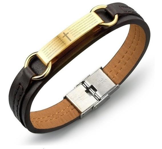 Bracelete Pulseira Masculina Couro Banhado -frete Incluso
