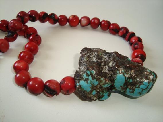 Max Colar Bolinhas Esferas Coral Natural Vermelho E Pingente Turquesa Rústico