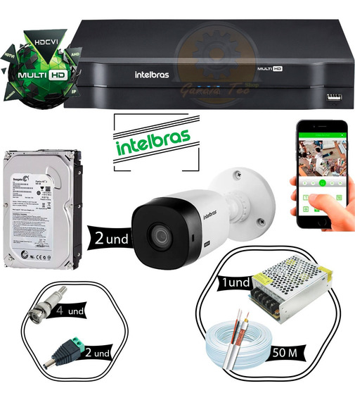 Kit 2 Câmeras 1120b Intelbras 1 Dvr 4 Canais Mhdx + Hd 500g