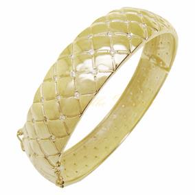 Braceletes Femininos Dourado Largo Cravejado Casamento Bruna