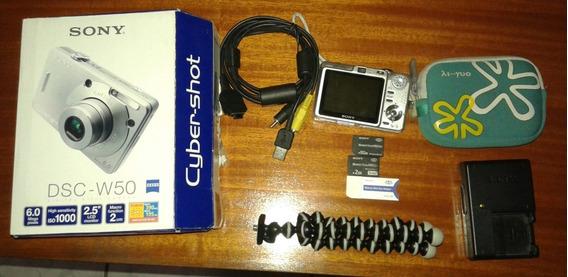 Câmera Fotográfica E Filmadora Sony Cybershot Dsc-w50