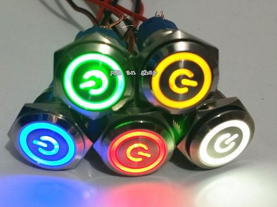 Botão Push Button Start 12v Led 4 Cores Aço Inoxidavel 19mm