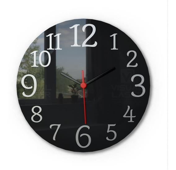 Relógio De Parede Black Piano Aço Escovado Sala Cozinha