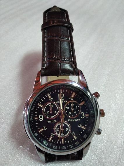 Relógio Luxo Social Geneva Pulseira Couro Com Brinde