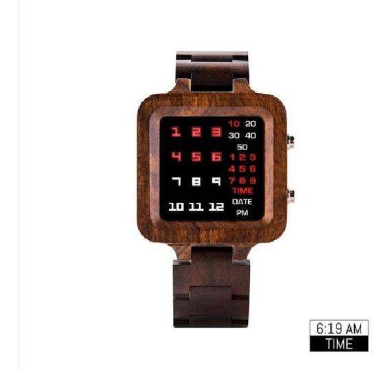 Relógio Masculino Madeira Led Bobo Bird T04