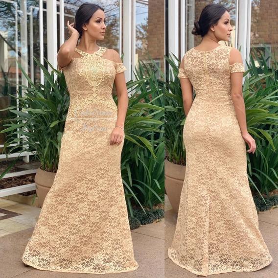 Vestido De Festa Dourado Renda Com Brilho Bordado Pérolas