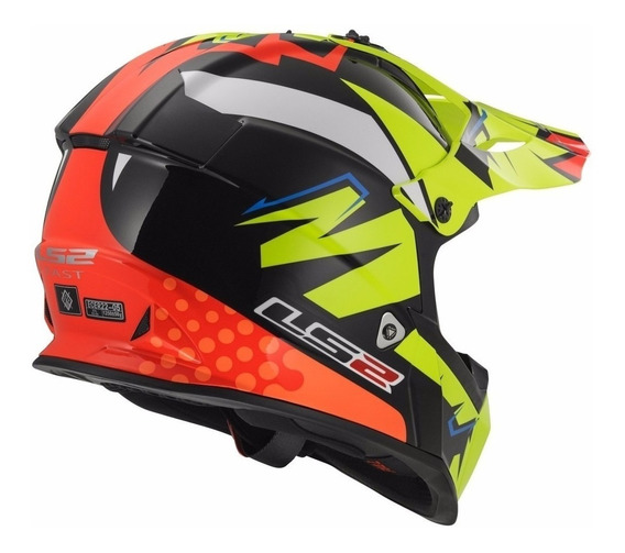 Casco De Cross Moto Ls2 437 Fast Volt Amarillo Yuhmak