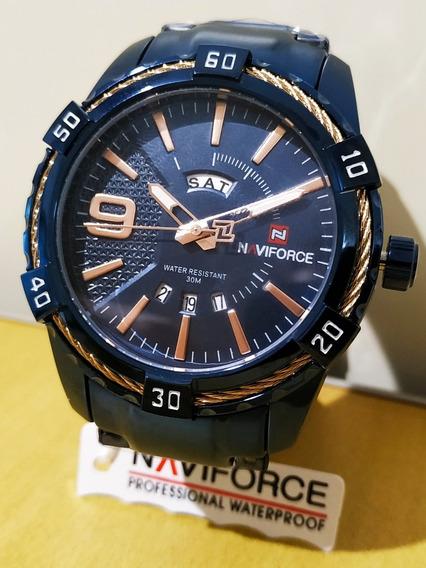 Relógio Naviforce Masculino Pulseira De Aço Original + Caixa