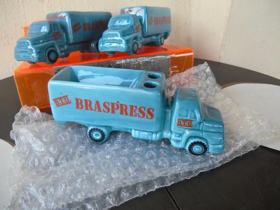Antigas Miniaturas Enfeite De Porcelana Caminhão Braspress