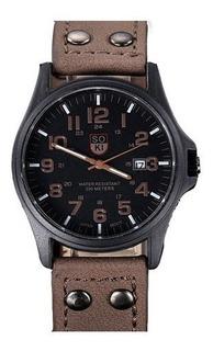 Relógio Estilo Militar Pulseira Couro Quartz 42mm