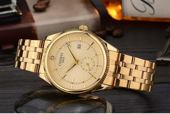 Relógio Masculino Casuais Banhado A Ouro A Prova D