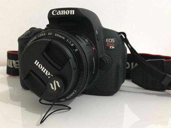 Câmera Canon Eos Rebel T5i + Lente 50mm F1.8 + Acessórios