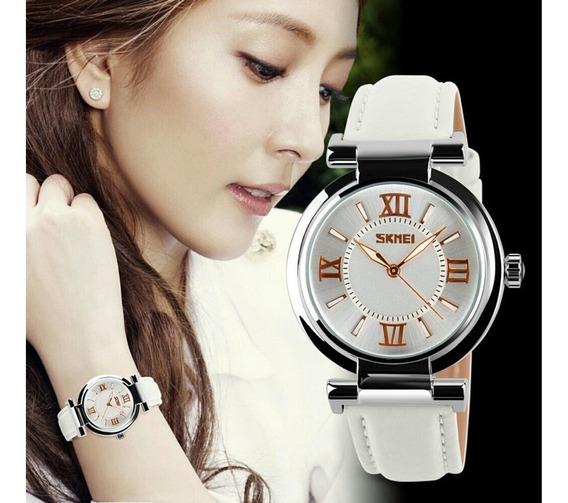 Relógio De Pulso Feminino Skmei 9075 Luxo Original Prata