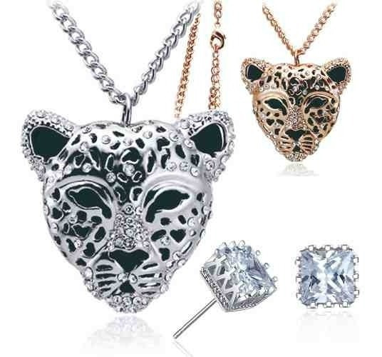 Regalo Mamá Amor Jaguar Leopardo Gato Corazón Swarovski Elem