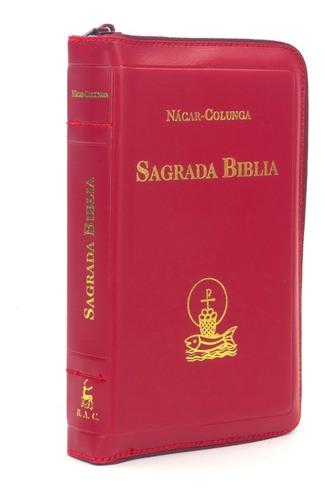 Imagen 1 de 4 de Sagrada Biblia Nácar Colunga Bolsillo Cremallera