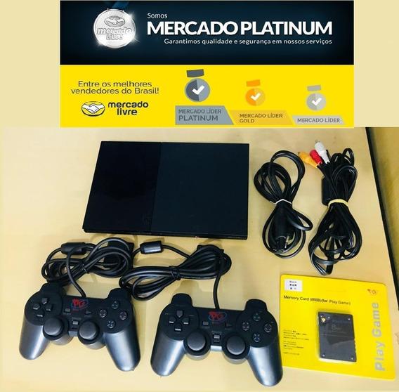 Playstation 2 + 2 Controle + 1 Memory Card + 3 Jogos + Cabos