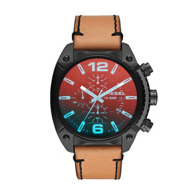 Diesel - Reloj Dz4482 Overflow Black Ip And Brown Leather Pa