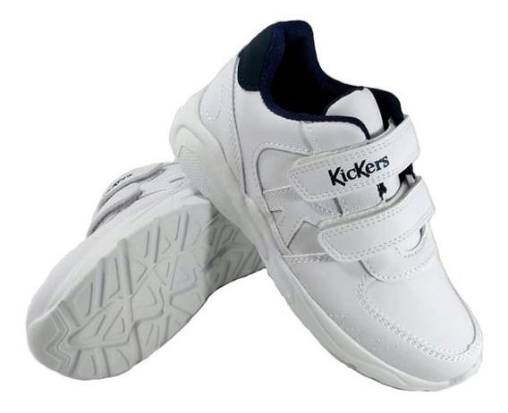 Zapatillas Kickers Niños Miles Colegial Blanca Azul Empo2000
