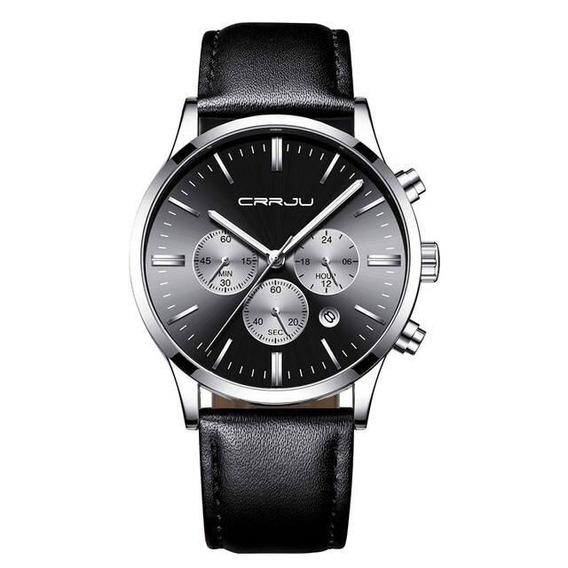 Relógio Masculino Cronógrafo Em Couro Classic Steel Prata