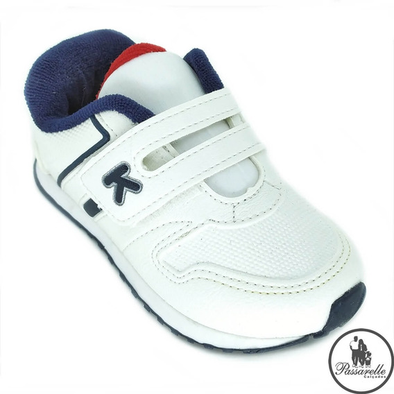 Tênis Masculino Bebê Klin Mini Walk Casual Com Velcro Branco