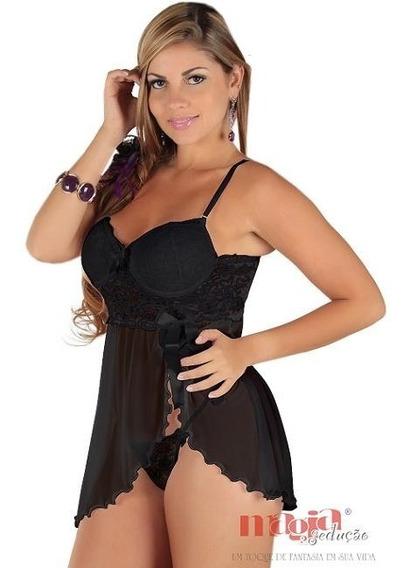 Camisola Feminina Curta Sexy Preta C/ Bojo Olivia Presente