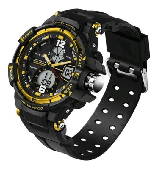 Relógio Dual Time Sanda Estilo Militar