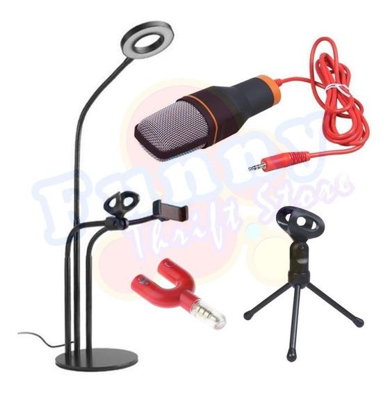 Kit Youtuber Suporte 3-em-1 Gravação Microfone Condensador