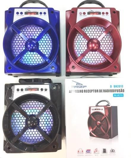 Caixa De Som Bluetooth 15w Com Usb Sd E Rádio Fm Com Visor