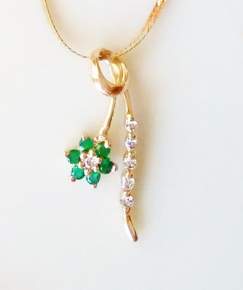Dije Flor En Tallo Diamantes Y Esmeraldas Oro Solido14k