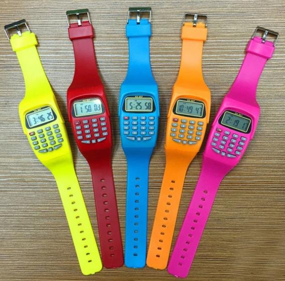 Relógio De Pulso Digital Infantil Com Calculadora Top Promoç