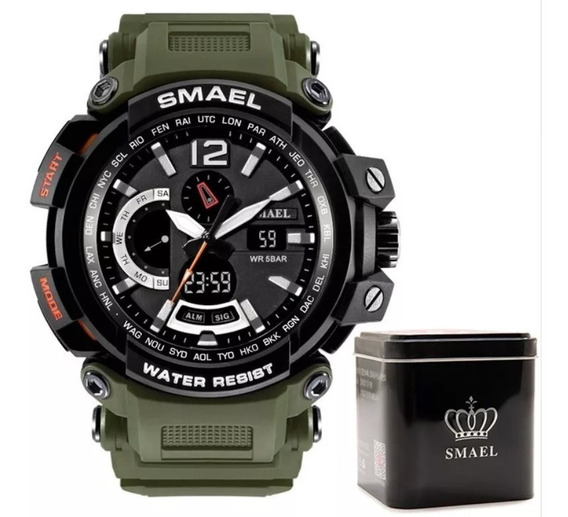 Relógio Smael Militar Esportivo 7402 Multifunções 5bar + Box