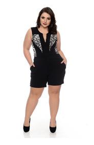 Macacão Feminino Plus Size Macaquinho Decote Blogueira Gg G4