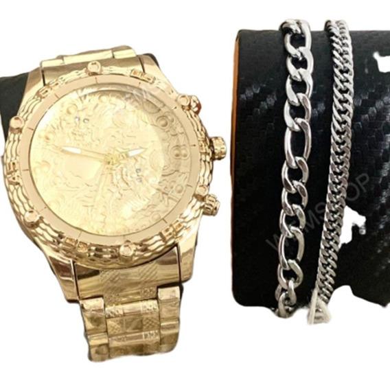 Relógio Masculino Dourado Prata Grande Barato + Pulseira Top