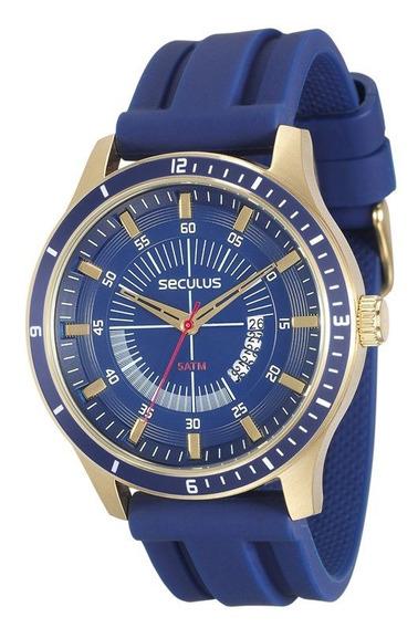 Relógio Seculus Masculino Dourado Com Azul 28824gpsvdu2