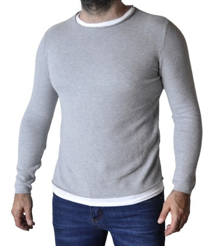 Imagen 1 de 8 de Sweater Hombre Entallado Simulando Remera Abajo The Big Shop
