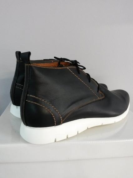 Bota De Cuero P/ Hombre Talle Especial N° 48 Negro/marrón