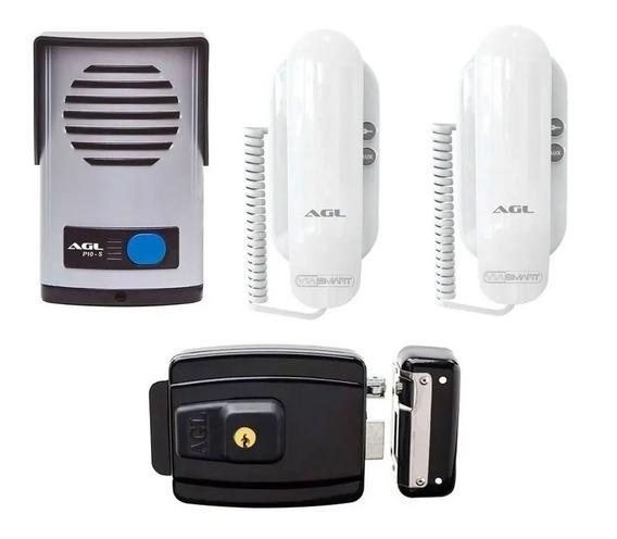 Kit Agl Interfone Porteiro Com 2 Fones + Fechadura Elétrica