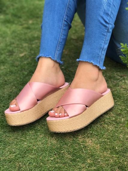 Sandalia Sueca Color Oro Rosa De Plataforma Envío Gratis