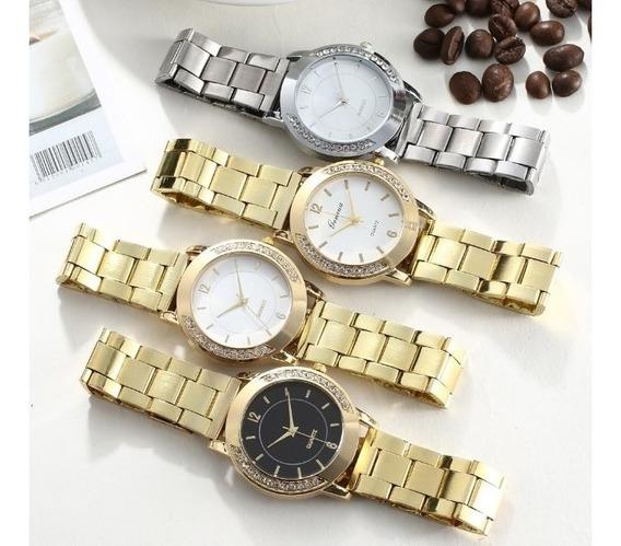 Relógio Geneva Feminino Quartzo Luxuoso Com Stress