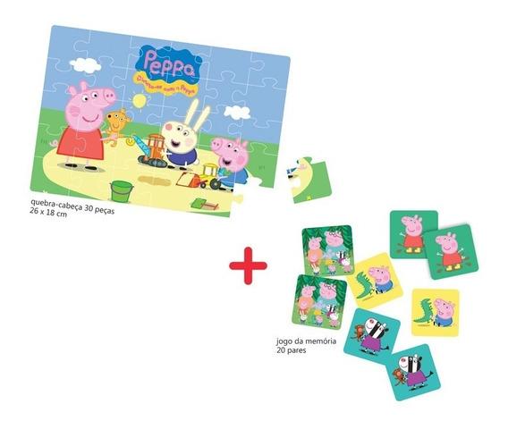 Quebra-cabeça E Jogo Da Memória Peppa Pig - Elka