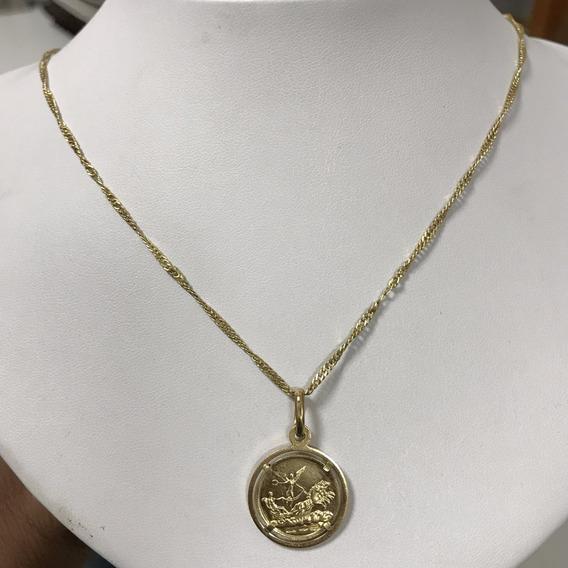 Colar Em Ouro Com Pingente Moeda, Ouro 18 E 23k, Peso: 9.5