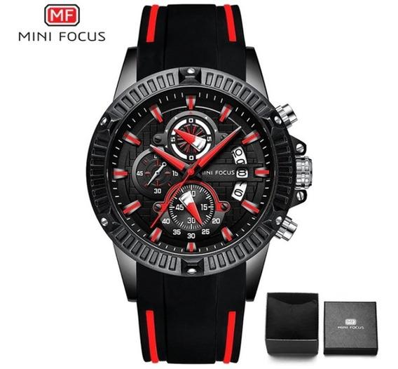 Mini Focus Relógio Masculino Original Preto Vermelho